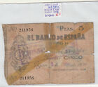 BILLETE DE 5 PESETAS GIJON AÑO 1936 ( roturas ) ( MB3845 )