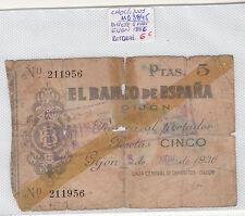 BILLETE  DE 5 PESETAS GIJON AÑO 1936 ( roturas )  ( MB3845 )