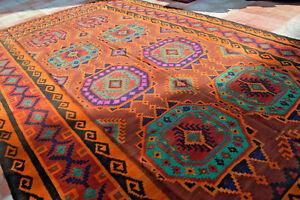 Antique Sarouk Pattern Turkman Area Size Natural Vegeatable dye Flat weave Rug