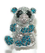 CRYSTAL BLUE & BLACK PANDA STRETCH RING (R015)