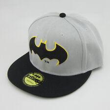 New Fashion batman hiphop Cosplay Snapback Adjustable baseball cap flat hat Gray