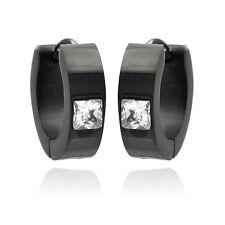 Stainless Steel Black Rhodium Plated Princess Cut CZ Stone Hoop Earrings