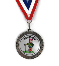 Golf Medal- Longest Drive- Comic- Bright Silver Finish- Free Neck Ribbon