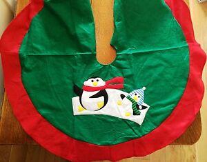 Penguin Christmas Tree Base Skirt Cover Tidy Vintage Christmas Decorations Xmas