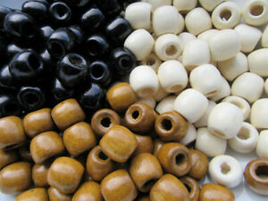 16x17mm Large Wooden Barrel Beads Polished Big 6mm Hole Brown Cream Black