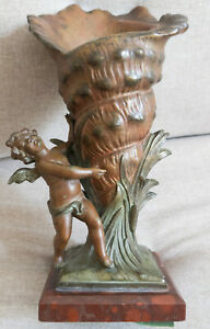 Antique Bronzed Spelter Putti Cherub w Cornucopia Red Marble Victorian Candle(?)