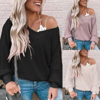 Women Long Sleeve Jumper V-Neck Off Shoulder Knit Pullover Casual Top Sweater