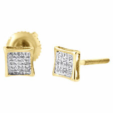 10k Yellow Gold Round Simulated Diamond Pave Set Mini Kite Stud Earring