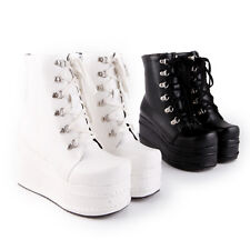 Platform Wedge Heels Women Ankle Boot Zipper Winter Ghic Punk Gladiator Shoes SZ