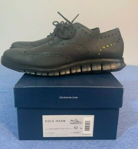 COLE HAAN ZeroGrand Wingtip Oxford No Stitch Shoes Black C12973 sz 10 BRAND NEW