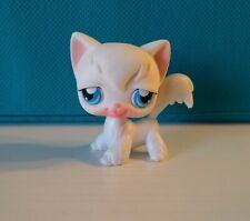 Authentic Littlest Pet Shop #9 White Longhair Angora Cat Blue Eyes Blush Face