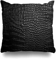 Real Leather Crocodile Embossed Design Handmade Throw Pillow Case Cushion Cover