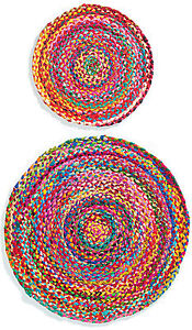 Round Chindi Braided Cotton Multi Colour Shabby Rag Rug Fair Trade Free delivery