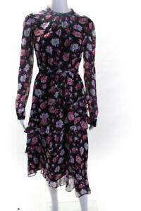 Jason Wu Womens Silk Long Sleeve Floral Print Tiered Skirt Dress Black Size 4