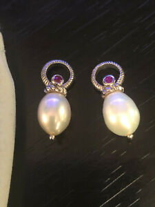 Judith Ripka 925 Sterling Silver CZ and Pearl Drops for Earrings or Pendants