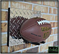 NFL Football Full Size Wall Mount Display Holder Plaque Aluminum Diamond Plate