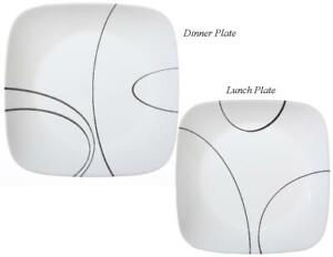 1 Corelle SQUARE SIMPLE LINES  Choose: DINNER or LUNCH PLATE *White Black Arcs