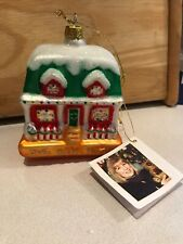 """Our New Home"" Glass Ornament Christmas House, 4"" First Margaret Cobane"