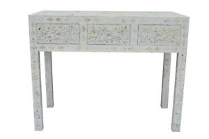Mother of Pearl Inlay Floral Design Chest of 3 Drawers Console Table White