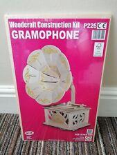 Woodcraft Construction Kit - Gramophone -  New + Sealed