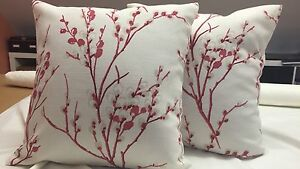TWO  HANDMADE CUSHION COVERS IN LAURA ASHLEY PUSSY WILLOW CRANBERRY