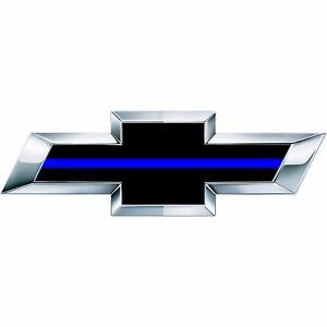 2 Silverado Thin Blue Line Universal Chevy Bowtie Vinyl Sheets Emblem Overlay