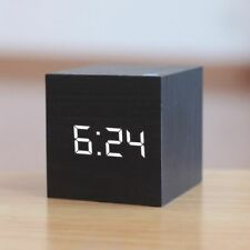 Digital Wooden LED Alarm Clock Wood Glow Clock Desktop Table Decor Voice Control