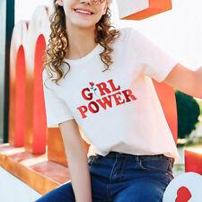 FT- Girl Power Printed T-Shirt Women Summer Fashion Short Sleeve Top Tee Novelty