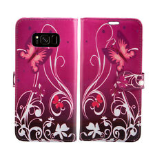 for Nokia 2 Leather Wallet Book With Card Slot Fone Phone Protect Case Cover Nokia 3 Purple Shade - Flower Butterfly Butterflies Plum