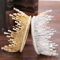 Luxury Wedding Hair Accessories Rhinestone Bridal Full Round Tiara Crystal Crown