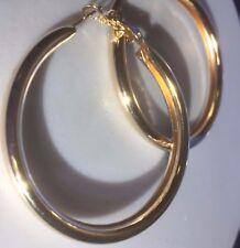 T25 Large 5cm yellow gold plated hoop earrings in FREE VELVET GIFT POUCH Plum UK