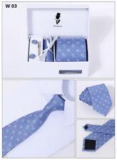 4PCs include Mens Dress Silk Tie set Cufflinks Hanky Tie Clip Gift Box W03