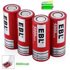 4Packs EBL 5000mAh 3.7Volt 26650 Battery Rechargeable Li-ion High Drain w/ Case