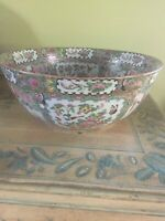 """Antique Chinese Rose Medallion Bowl, huge, perfect condition - 15"""" x15"""" -"""