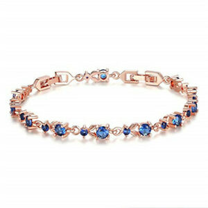 Fashion Woman Exquisite Blue Round Zircon Rose Gold Bracelet Jewelry Gift
