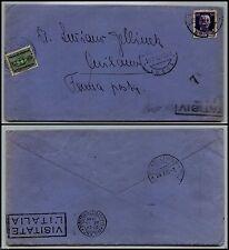 REGNO-FERMO POSTA-Busta Lucca x Milano 23.7.1937-50 c(251)+Tassata in arrivo 25c