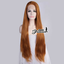 """30"""" Long Daily Straight Orange Women Party Lace Front Wig Heat Resistant+Cap"""