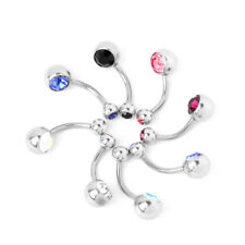 8pcs Rhinestone Belly Button Navel Ring Ball Bar Body Piercing Jewelry Gift