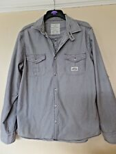 Nearly New Next Grey White Stripe Casual Double Layer Cotton Slim Fit Shirt L