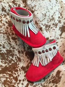 Red Infant Western Baby Boots Booties Hair on Hide Fringe NEW Various Sizes