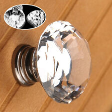 3PCS Crystal Glass Door Knobs Clear Diamond Pull Handle for Drawer Cabinet Screw