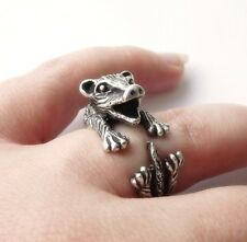 Cute Vintage Silver Adjustable Funny Opossum Animal Wrap Ring Nickel Free