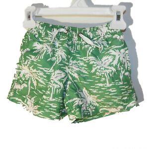 Hanna Andersson Size 80 / 85 US 2 Toddler Boys Swim Shorts Green DINOSAURS EUC