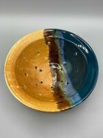 Sunset Canyon Pottery Berry/Drainer Bowl, Earth & Sky Glazed Southwest Stamped