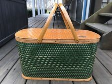 Vintage Large Size Wooden Woven Retro Family Picnic Lunch Basket Metal Handles