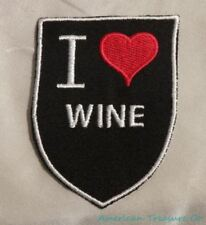 Embroidered Retro Vintage Style I Love Wine Black Shield Patch Iron On Sew USA