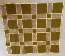 Vtg Blanket Afghan Patchwork Crochet Heringbone Boho Statement Decor Handmade