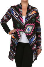 NWT 3XL Black Pink Blue Slinky Aztec Open Front Travel Knit Cardigan Jacket Top