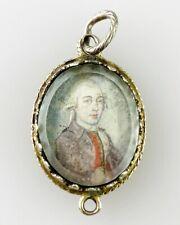 Antique portrait miniature of a gentleman. German 18th century. Georgian Jewelry