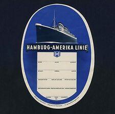 Shipping Company HAMBURG-AMERIKA LINIE * Old Luggage Label Kofferaufkleber #4